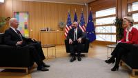 Von der Leyen i Michel, durant la seva reunió d'ahir amb Biden, a Brussel·les