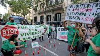 Protesta el mes de juny passat davant la delegació del govern espanyol pel suïcidi d'un home a Sants quan estava a punt de ser desnonat