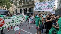 Protesta contra un desnonament a Barcelona