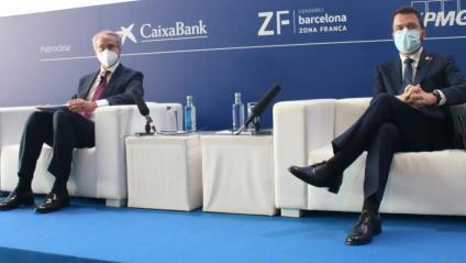 Javier Faus i Pere Aragonès ahir en les jornades del Cercle.