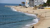 Imatge de la platja de Sant Pol de Mar al maig de 2020