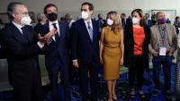 Javier Faus, Pablo Casado, Antonio Garamendi, Yolanda Díaz, Ada Colau i Josep Maria Álvarez, en les jornades del Cercle d'ahir a Barcelona
