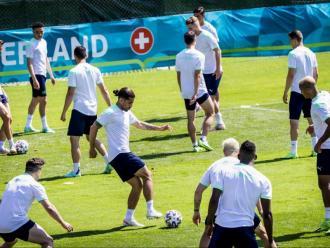 L'entrenament de Suïssa, ahir, a Roma