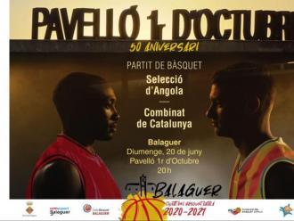 Cartell del partit entre el combinat de Catalunya i Angola