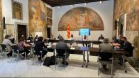 El grup de treball durant la reunió que va mantenir ahir al Palau de la Generalitat