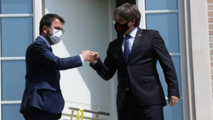 Aragonès i Puigdemont, en la trobada d'ahir