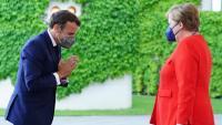 Merkel, rebent ahir Macron a la seu de la cancelleria, a Berlín