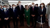 Trobada al Cercle d'Economia entre el president Aragonès, el president sud-coreà Moon Jae-in, Felip VI, la ministra Calviño i l'alcaldessa Colau