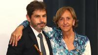 Ramon Gascons (Edavant) i Imma Colom (Junts), ahir durant la investidura