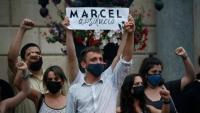 Marcel Vivet, a la plaça Sant Jaume de Barcelona el 17 de juny