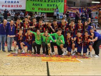 Els jugadors del Barça, celebrant el títol.