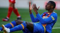 Dembélé es lamenta en un partit