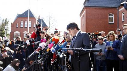L'ara eurodiputat Carles Puigdemont quan va sortir de la presó alemanya de Neümunster, el 2019
