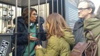 La dona de Quim Forn, en una acció que es va fer a Vic per denunciar l'empresonament dels líders independentistes