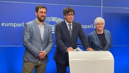 Toni Comín, Carles Puigdemont i Clara Ponsatí, el 3 de juny passat