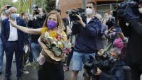 L'expresidenta Carme Forcadell sortint ahir de la presó amb l'indult concedit pel govern espanyol