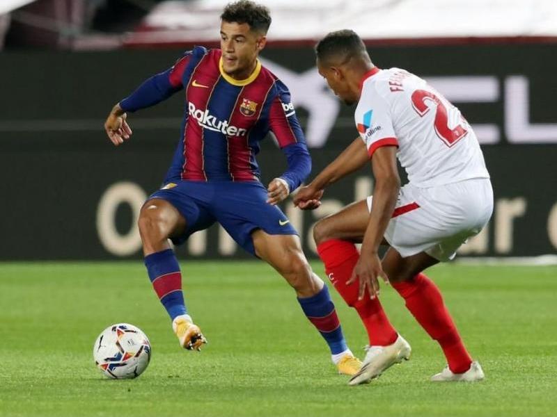 Coutinho, en el partit de lliga contra el Sevilla al Camp Nou