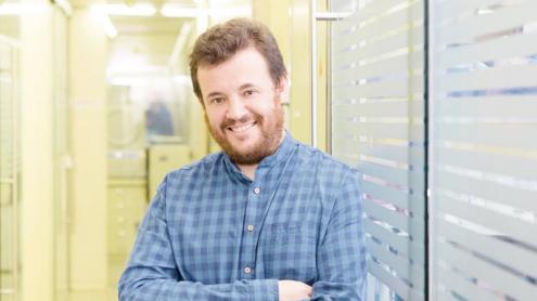 <b>Marc Noguera, </b>a les instal·lacions d'IrsiCaixa, on treballa en el camp de la computació científica