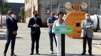 Els responsables d'Electro-Jet presenten el projecte amb el conseller Torrent