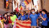 Jordi Turull, a l'arribada a la plaça Major d'Arnes en l'última etapa de la 'Travessa per la Llibertat'