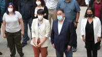 Oriol Junqueras, amb la portaveu del BNG, Ana Pontón, en un acte organitzat a Santiago de Compostel·la