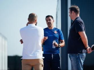Míchel va rebre dijous la visita de Pere Guardiola i Ferran Soriano a La Vinya