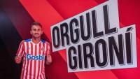 Aleix Garcia en la presentació com a nou jugador del Girona a l'estadi de Montilivi