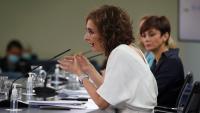 Montero (Hisenda) i la ministra portaveu, Isabel Rodríguez, ahir a La Moncloa