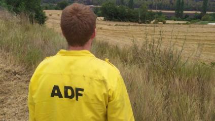Un membre dels ADF  contemplant la desolació del paisatge cremat de la serra de Queralt-Miralles, dilluns a la tarda, quan el foc ja havia estat controlat
