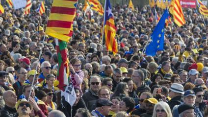 Acte de benvinguda a Puigdemont, Ponsatí i Comín a Perpinyà el 29 de febrer de 2020