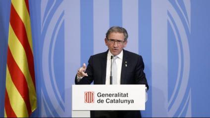 El conseller Giró en la roda de premsa posterior al Consell de Política Fiscal i Financera telemàtic d'ahir