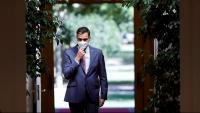 El president del govern espanyol, Pedro Sánchez, abans de fer balanç del curs polític a la Moncloa