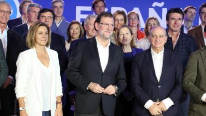 Maria Dolores de Cospedal, Mariano Rajoy i Jorge Fernández Díaz en una imatge del 2015