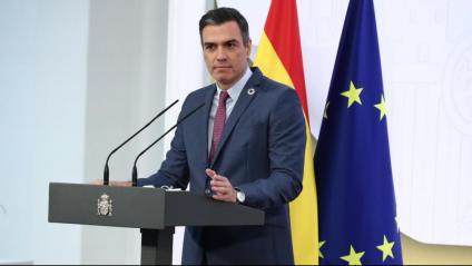 El president del govern espanyol, Pedro Sánchez, durant la roda de premsa per fer balanç del compliment dels seus compromisos