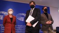 Ponsatí, Puigdemont i Comín, el 15 de gener del 2001, quan es va fer la vista al Parlament Europeu per retirar-los el suplicatori