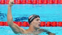 Caeleb Dressel celebra el triomf en els 50 m lliure