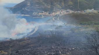 Cua de l'incendi a Portbou aquest dissabte 31 de juliol