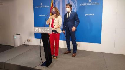 La consellera de la Presidència, Laura Vilagrà, i el vicepresident del Govern, Jordi Puigneró, durant la roda de premsa per analitzar la comissió bilateral Catalunya-Espanya