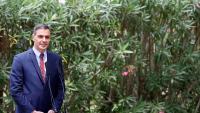 El president del Govern, Pedro Sánchez, atén la premsa després de mantenir el tradicional despatx d'estiu amb el rei Felip VI