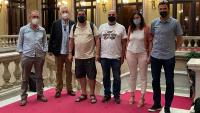 Cornella i Torrentà, amb els representants de la plataforma opositora