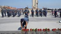 Acte de commemoració de l'aniversari de l'explosió, ahir a Beirut