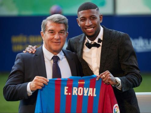 Emerson, amb Joan Laporta ahir al Camp Nou