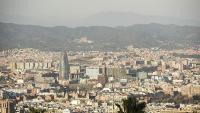 Pla general des de la muntanya de Montjuïc del cel de Barcelona