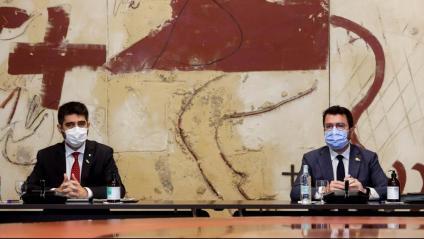El vicepresident Puigneró i el president Aragonès, en la reunió del Consell Executiu dimarts en què van topar pel nomenament de la delegació catalana a la taula de negociació