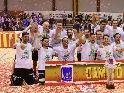 Els jugadors de l'Sporting celebren el títol de campions