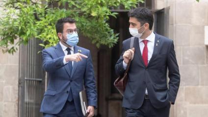 El president del govern, Pere Aragonès, i el vicepresident, Jordi Puigneró, aquest dimarts