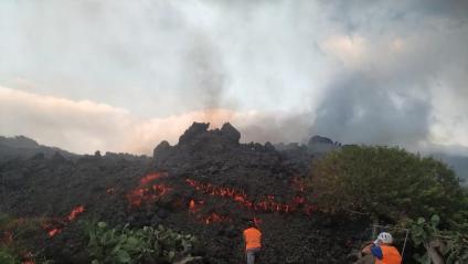Tècnics de l'Institut Vulcanològic de Canàries (Involcan) agafen mostres de la llengua de lava, ahir a La Palma