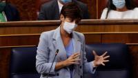La ministra de Política Territorial, Isabel Rodríguez durant la sessió de control al govern espanyol d'aquest dimecres en el Congrés