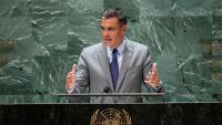 El president del govern espanyol, Pedro Sánchez, durant la seva intervenció a l'assemblea general de l'ONU