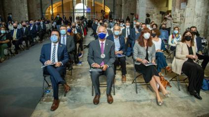 D'esquerra a dreta, el president, Pere Aragonès; el rector de la UdG, Quim Salvi; l'alcaldessa de Girona, Marta Madrenas, i la consellera Gemma Geis